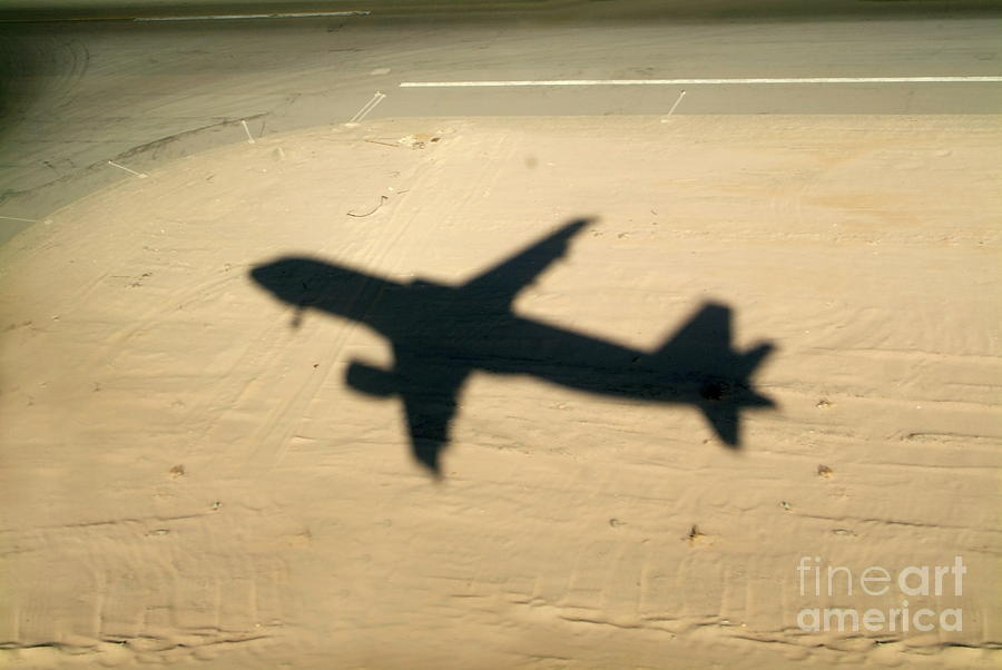 Aeroplane Photograph - Shadow Of Airplane Flying Into Land by Sami Sarkis
