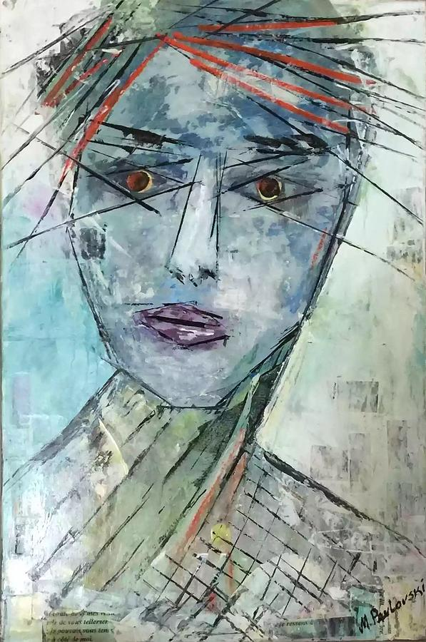 Abstract Face Mixed Media - Shadow Of The Soul by Melissa Pavlovski
