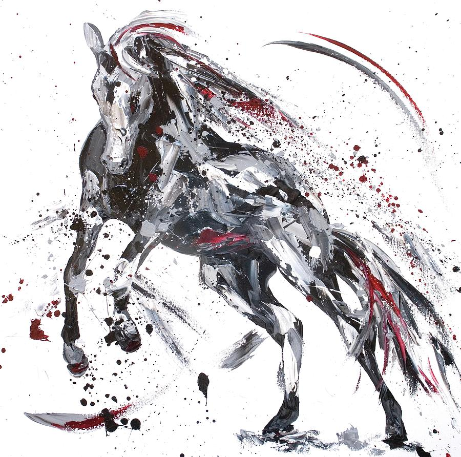 Horse Painting - Shadow by Penny Warden