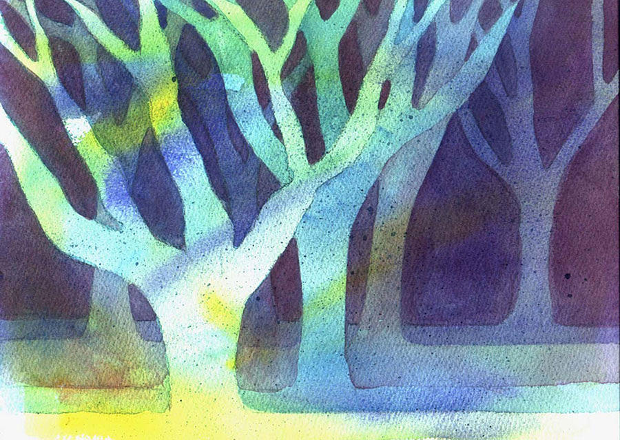 Trees Painting - Shadow Trees by Jane Croteau