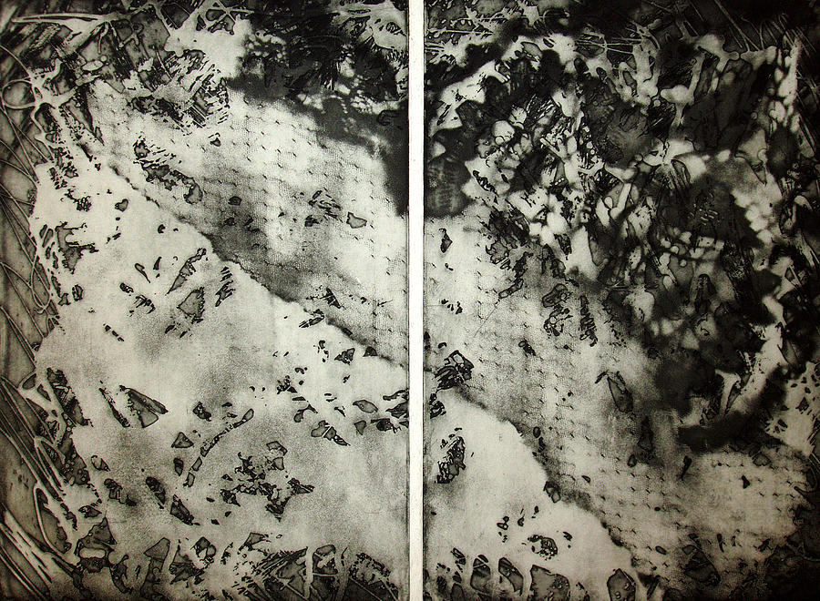Etching Drawing - Shadows And Lace by Nancy Mueller