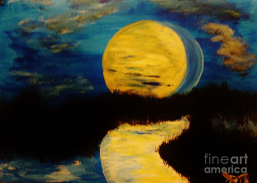 Landscape Painting - Shadows In The Moon by Marie Bulger