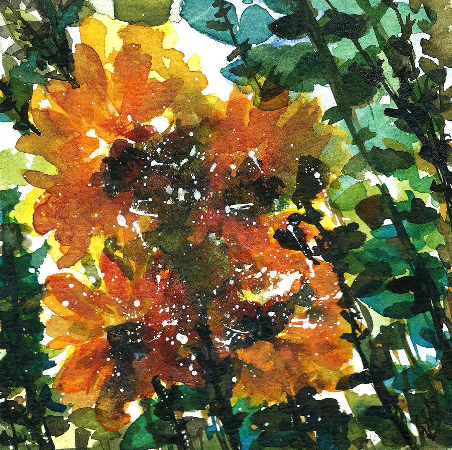 Watercolor Sunflowers Painting - Shadows Of Sunflowers by Garima Srivastava