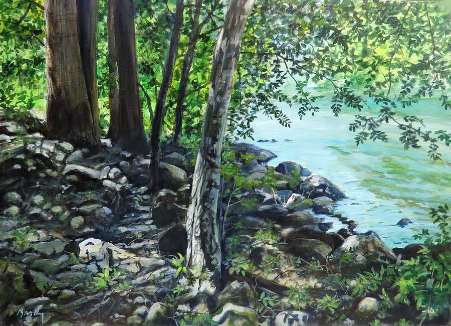 River Painting - Shadows On The Bank by William Brody