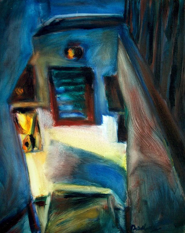 Oil Painting - Shadows On The Down Stairs by Bob Dornberg