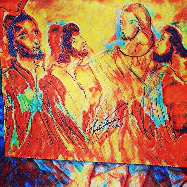 Jesus Mixed Media - Shadrach, Meshach And Abednego In The Fire With Jesus by Love Art Wonders By God