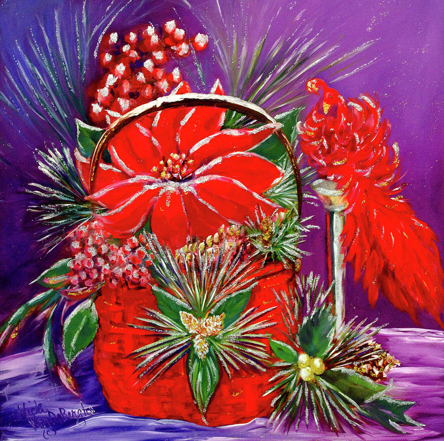 Poinsettia Painting - Shake Off The Snow, And Come On In by Vicki VanDeBerghe
