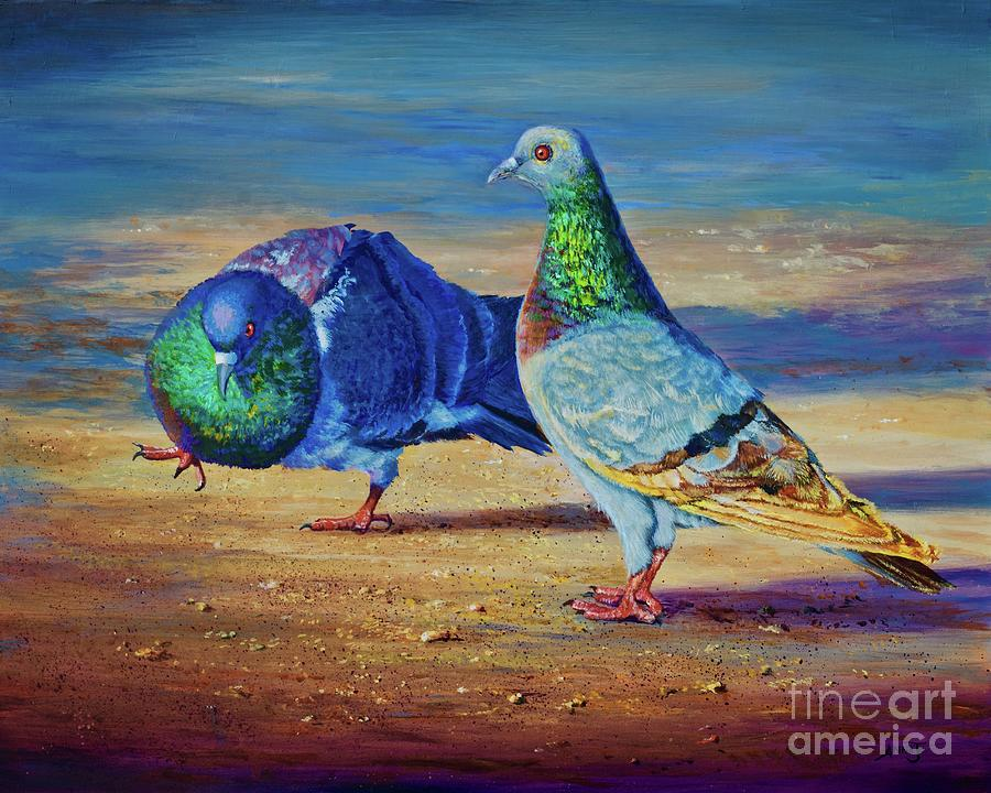 Pigeon Painting - Shall We Dance? by AnnaJo Vahle