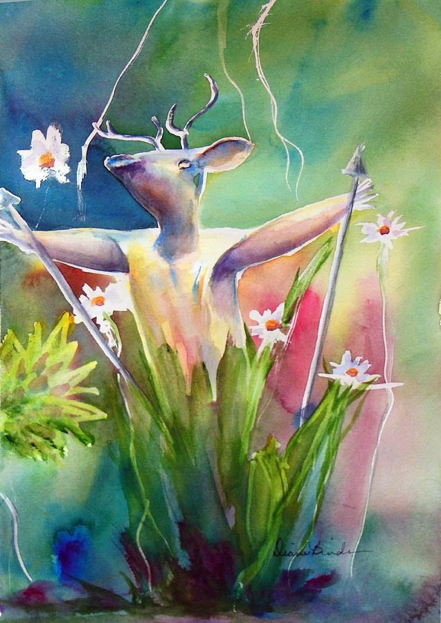 Shaman Painting - Shaman of the Garden, a fantasy by Diane Binder