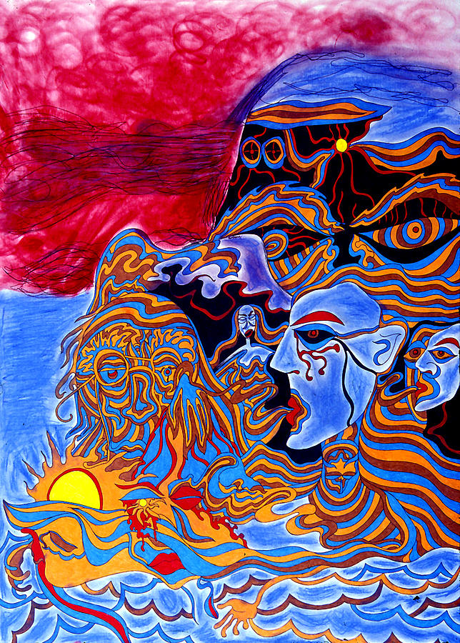 Abstract Print - Shaman Of The Red Sky by William Watson