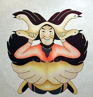 Shaman Surrounded Drawing by Mary Pudlat