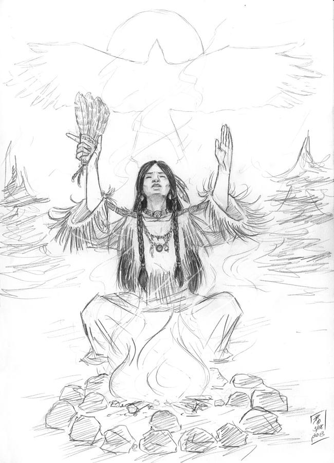 First Nations Drawing - Shamans Breath by Brandy Woods