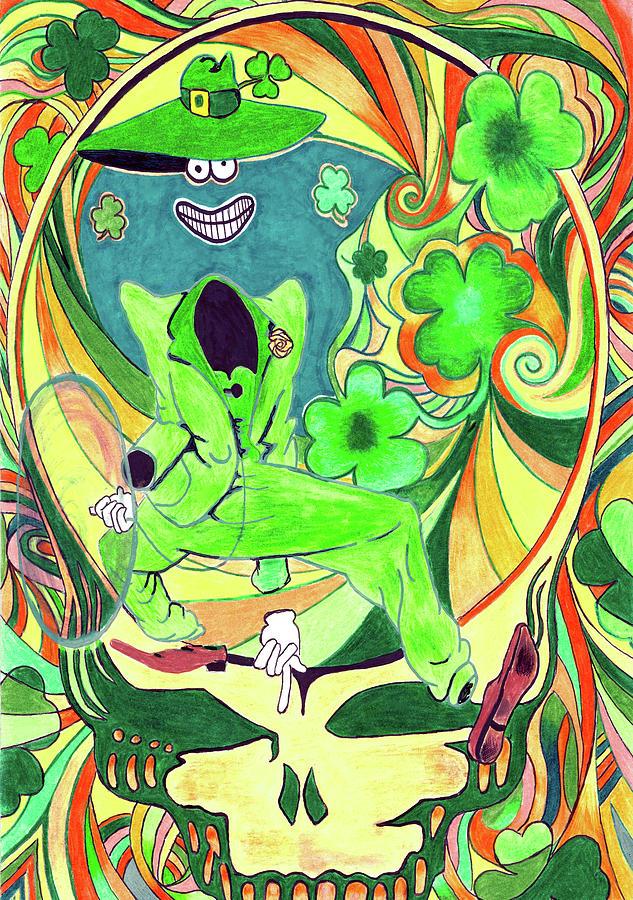 The Grateful Dead Drawing - Shamrock Shakedown by Kevin J Cooper Artwork