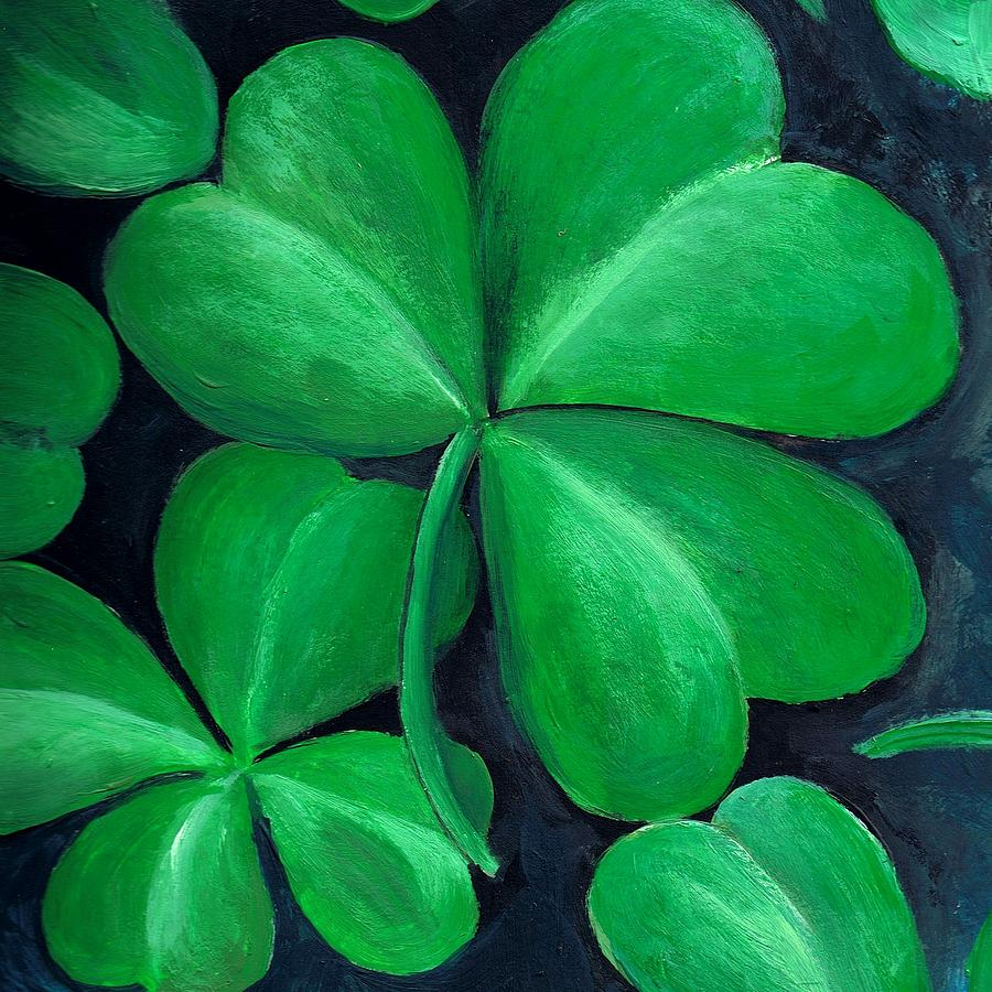 Shamrock Painting - Shamrocks by Nancy Mueller
