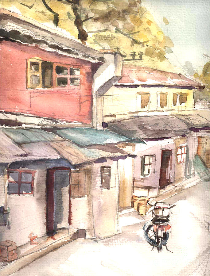 Watercolor Painting - Shanghai Afternoon by AQQ Studio
