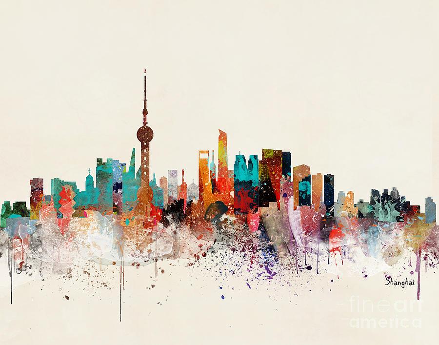 Shanghai Cityscape Painting - Shanghai Skyline by Bri Buckley