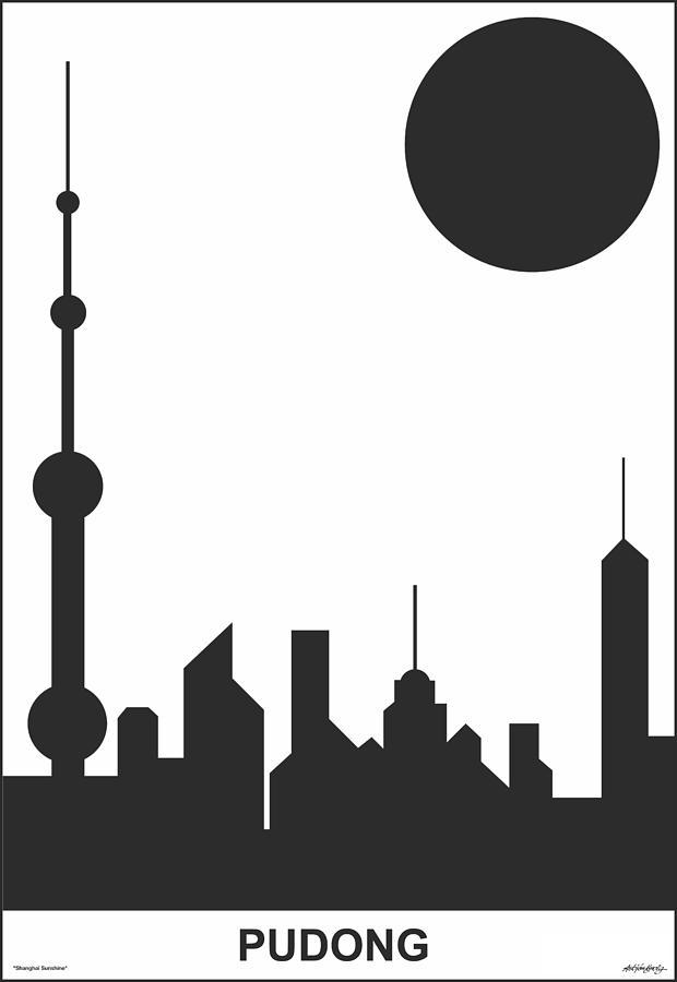 Shanghai Digital Art - Shanghai Sunshine Black White by Asbjorn Lonvig