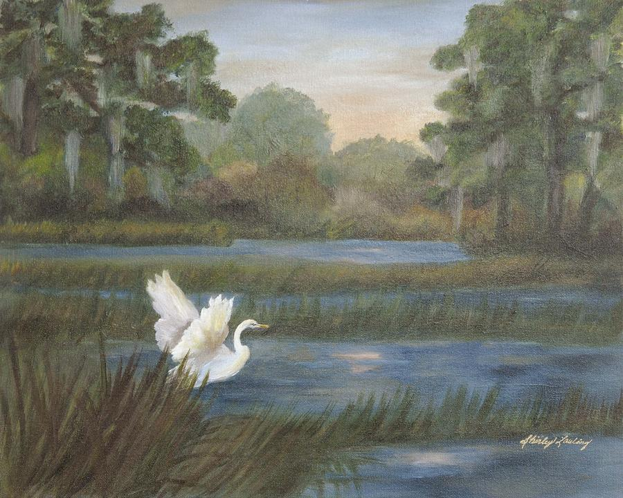 Wetlands Painting - Shangralia by Shirley Lawing