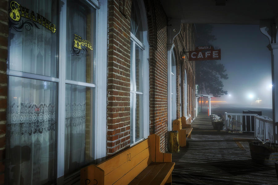 Night Photograph - Shaniko Hotel And Cafe by Cat Connor