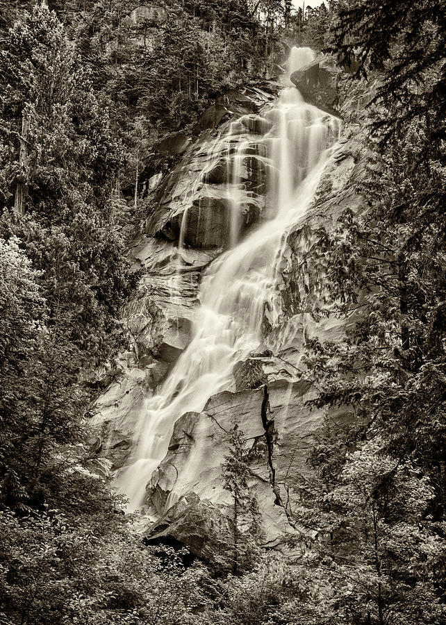 Shannon Falls Photograph - Shannon Falls - Bw by Stephen Stookey
