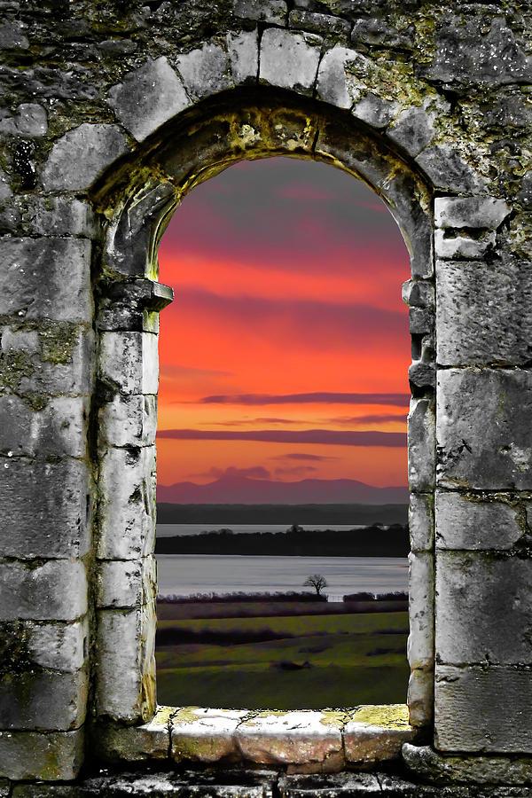 Dysert O Dea Photograph - Shannon Sunrise Through Medieval Arch by James Truett