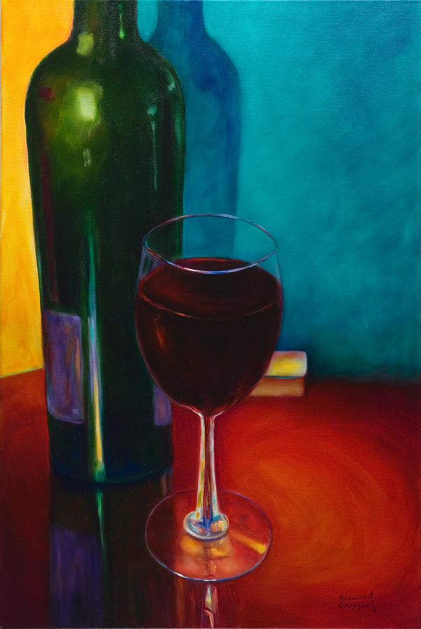Wine Bottle Painting - Shannons Red by Shannon Grissom