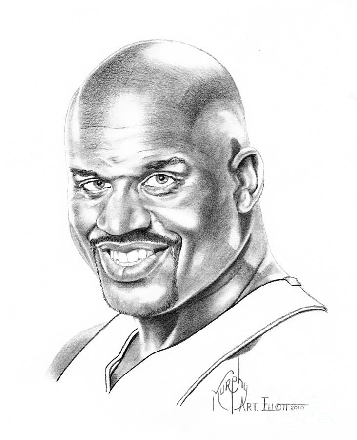 Basketball Drawing - Shaquille Oneal by Murphy Elliott