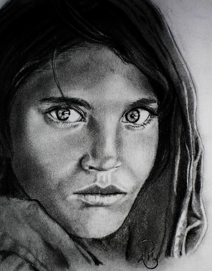 National Geographic Drawing - Sharbat Gula by Andrea Realpe