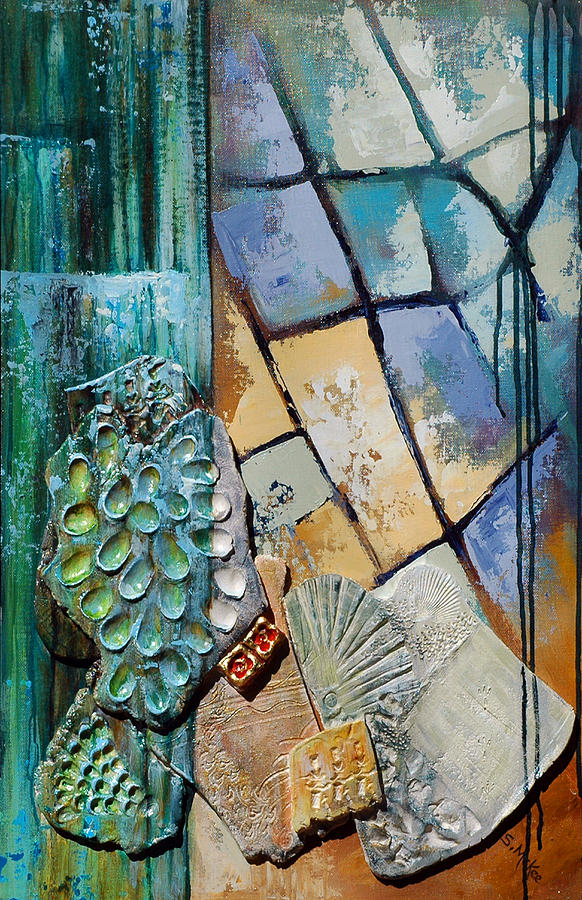 Acrylic Painting - Shards Water Clay And Fire by Suzanne McKee