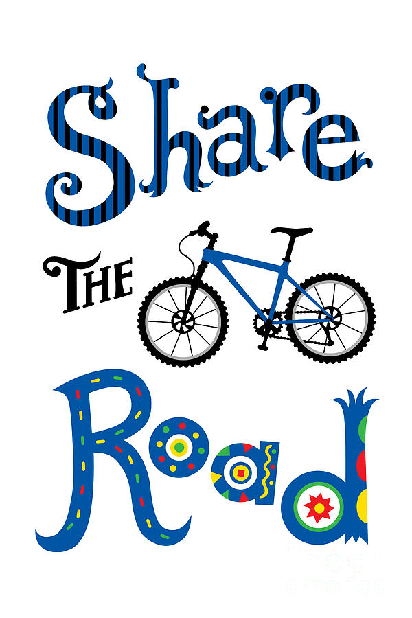 Bicycling Digital Art - Share The Road by Andi Bird