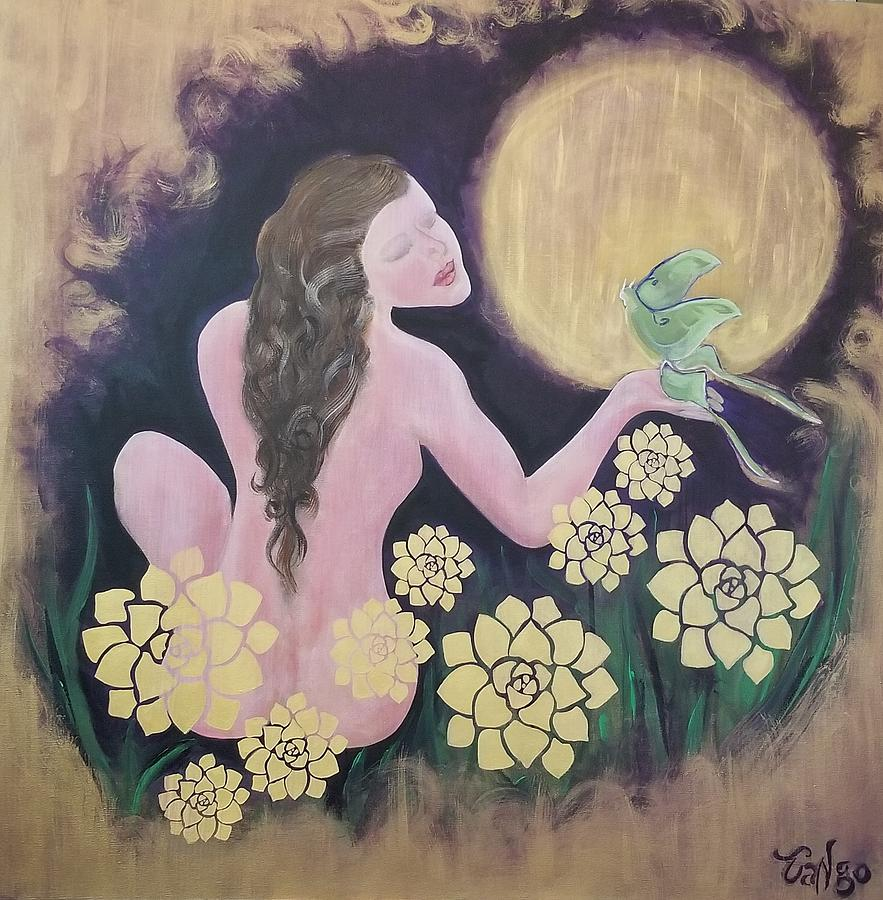 Woman Painting - Shared Beauty Under The Golden Moon by Ron Tango Jr