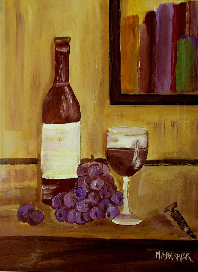 Still Life Painting - Sharing A Glass by Mary ann Barker