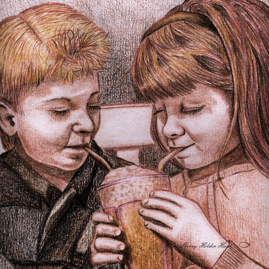 Milkshake Drawing - Sharing A Shake by Sherry Holder Hunt
