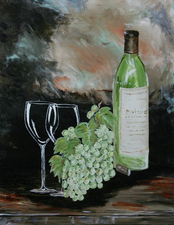 Wine Painting - Sharing An Afternoon by Robin Lee