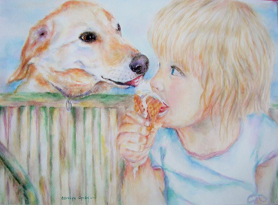 Sharing Ice Cream Painting