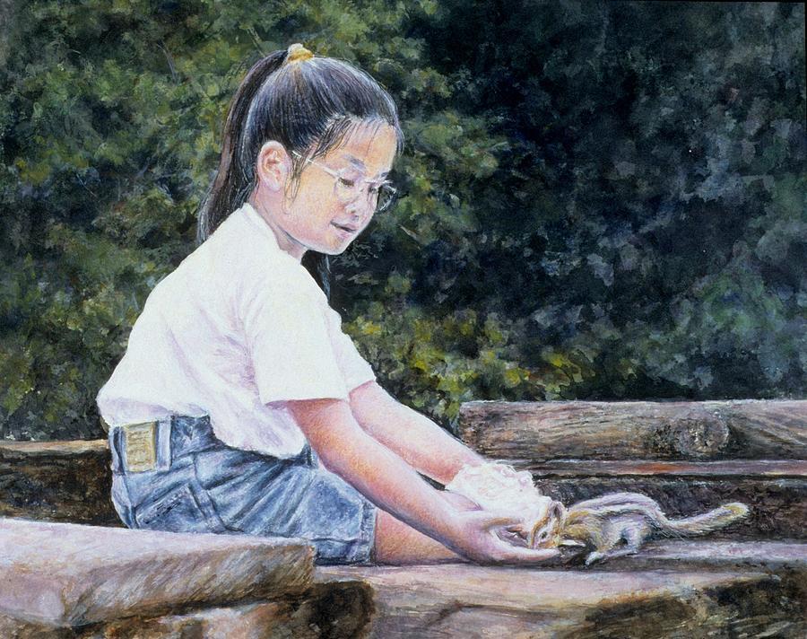 Children Painting - Sharing by Janet Landrum