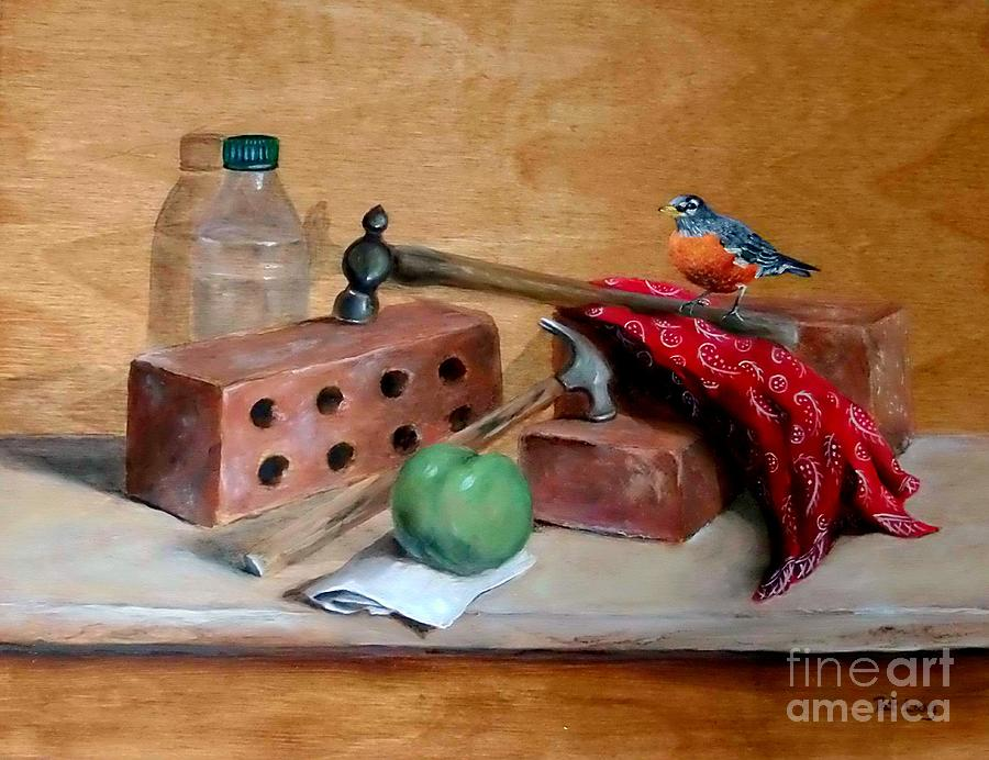 Brick Painting - Sharing Lunch Break by Patricia Lang