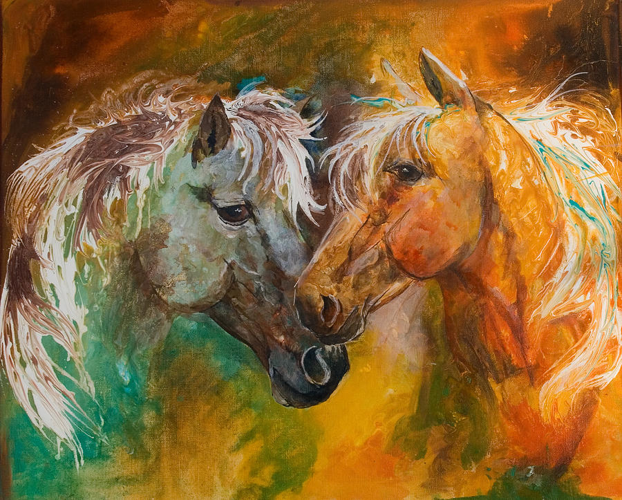 Horse Painting - Sharing Secrets by Sherry Shipley