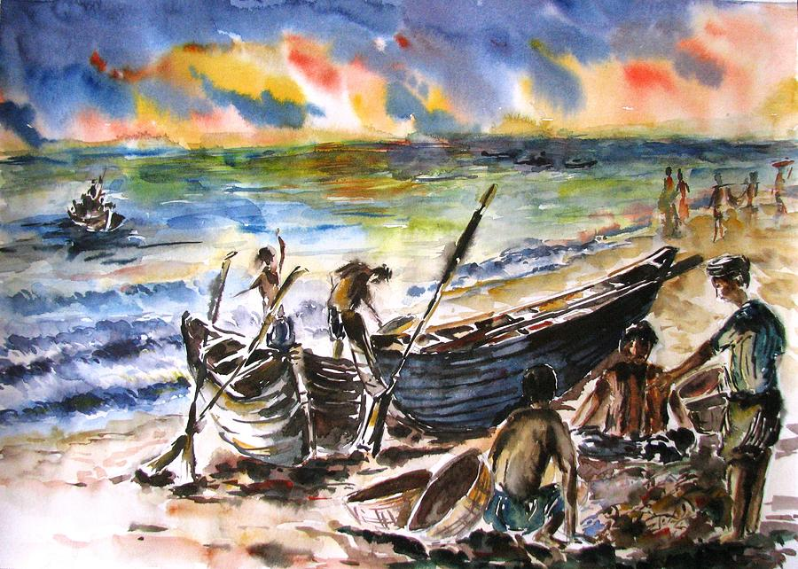 India Painting - Sharing The Good Catch by Sagnik Datta