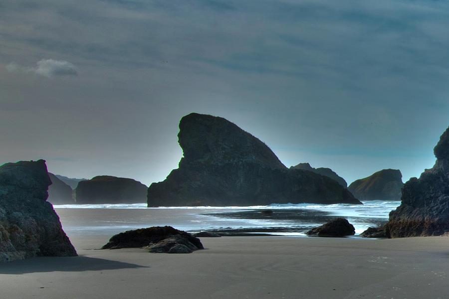 Oregon Coast Photograph - Shark Rock Oregon coast by Norman Hall
