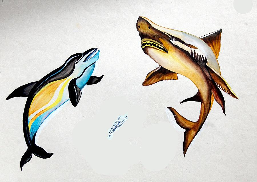 Shark Mixed Media by Sonam Shine