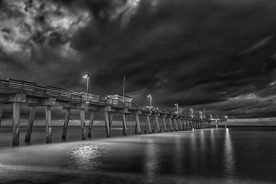 B&w Photograph - Sharkys Pier - predawn by Don Miller