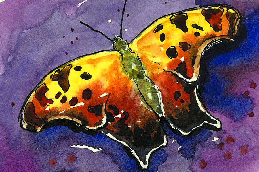 Butterfly Painting Painting - Sharon Be Free by Christine Camp