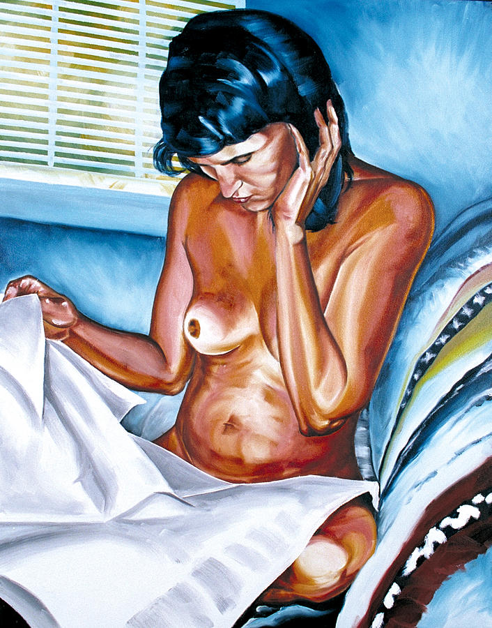 Female Painting - Sharons Morning Paper by Matthew Milone