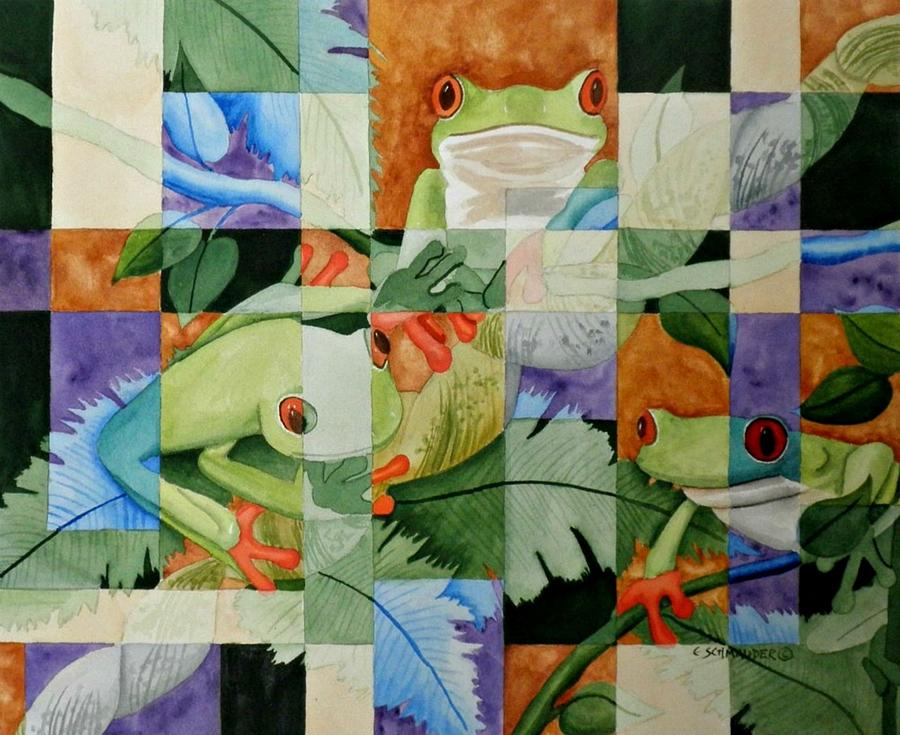 Tree Frogs Painting - Shattered Reality Xlvii by Carol Schmauder