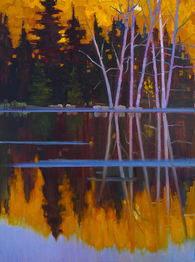 Colorado Painting - Shaw Lake Reflections by Susan McCullough