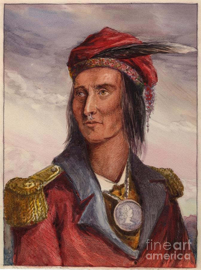 American Indian Painting - Shawnee chief Tecumseh by MotionAge Designs