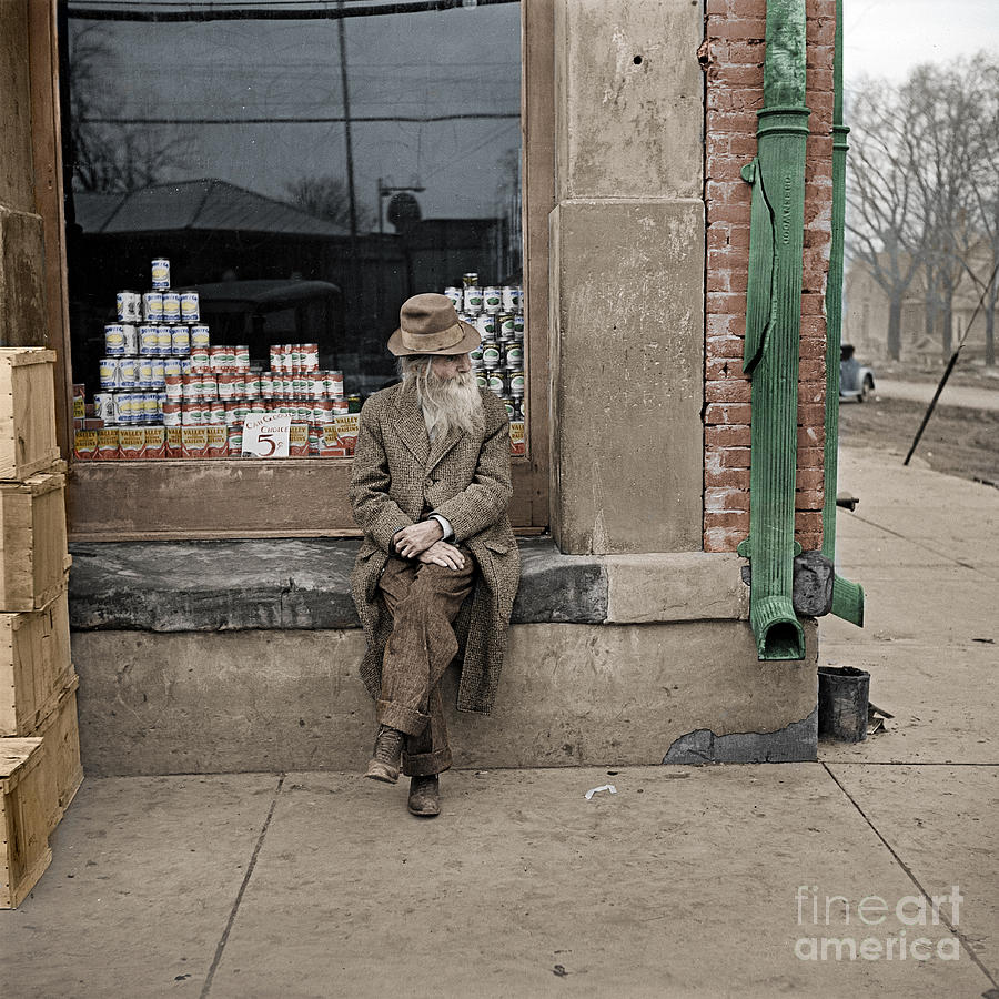Old Man Photograph - Shawneetown colourised by Russell Brown