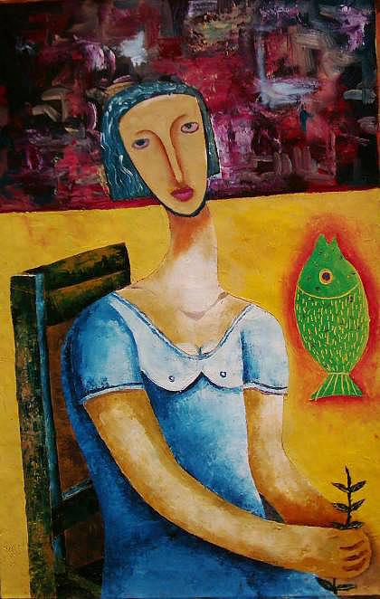 Girl Painting - She Brought The Light Into My Heart by Jacob  Wachira Ezigbo