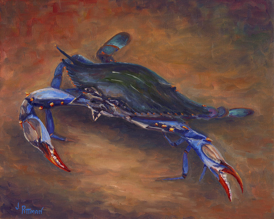 Crab Painting - She Crab by Jeff Pittman